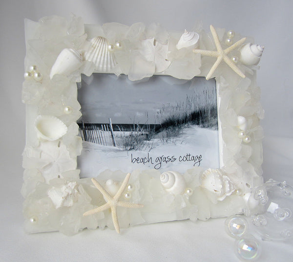 sea glass frame, beach glass frame, seaglass frame, seashell frame, shell frame, sea glass wall frame