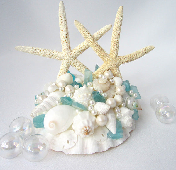 Sea Glass Wedding Cake Topper, beach glass cake topper, seashell cake topper, beach wedding cake topper, nautical cake topper
