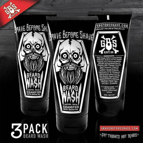 Pack de 3 Shampoings à Barbe Beard Wash GRAVE BEFORE SHAVE