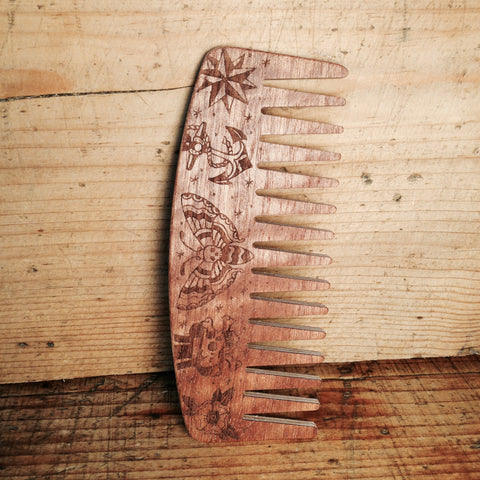 Peigne à Barbe n°9 dents larges Edition Tatoo BIG RED Beard Combs