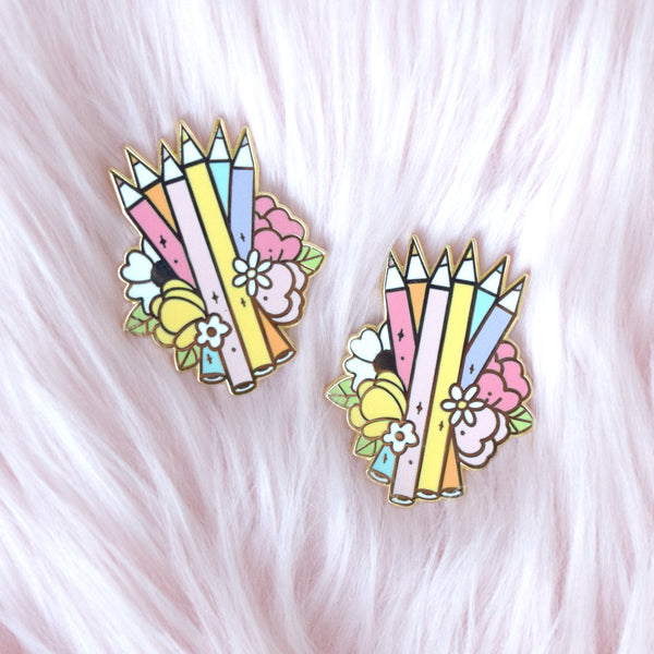 Rainbow Colored Pencils Enamel Pin