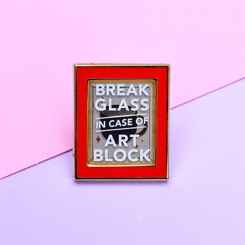 Break in Case of Art Block Enamel Pin - Red
