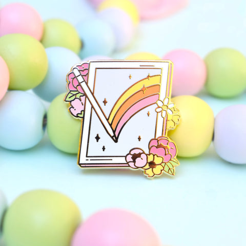 White Tablet Enamel Pin