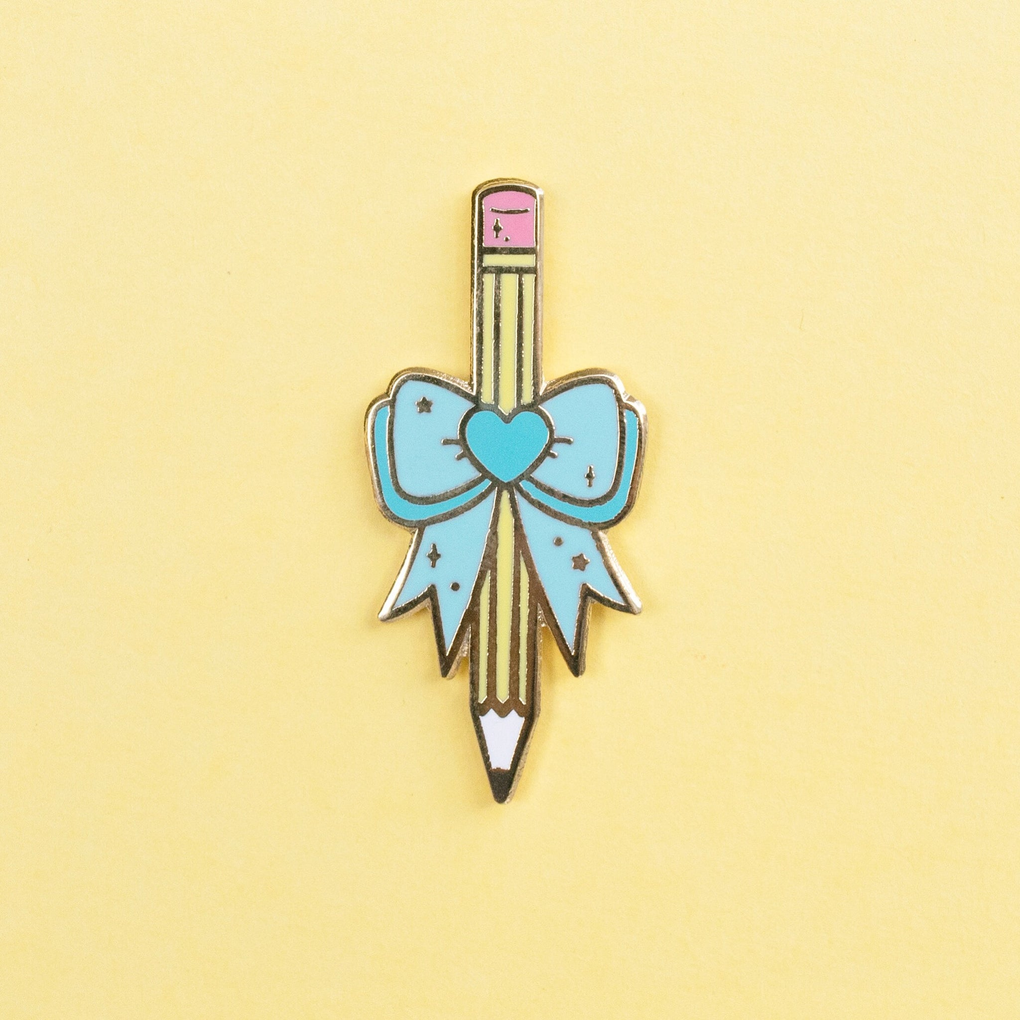 Pencil with Bow Pin - Blue
