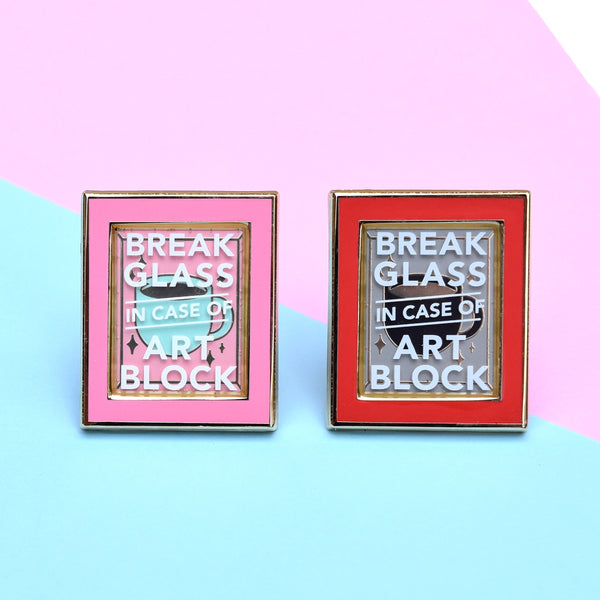 Break in Case of Art Block Enamel Pin - Pink