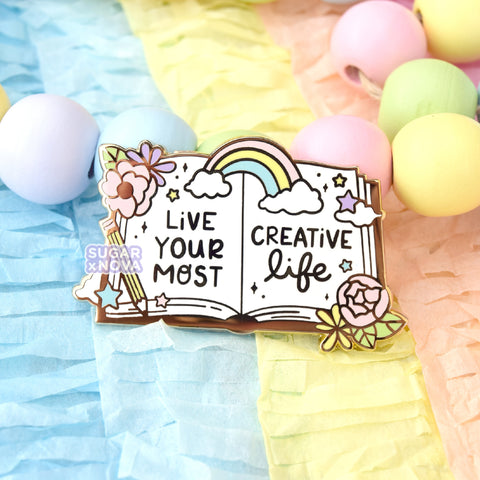 Sketchbook Enamel Pin - Live Your Most Creative Life