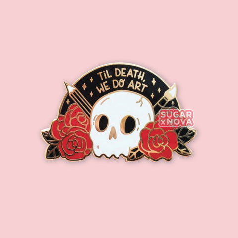 Death We Do Art Enamel Pin - Red Roses