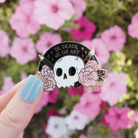 Death We Do Art Enamel Pin - Pink & Black