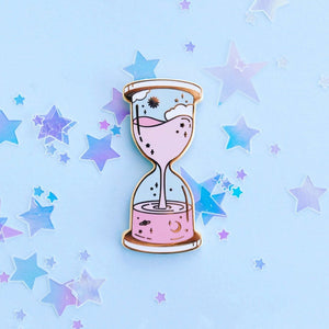 Space and Time Hourglass Pin - Pink