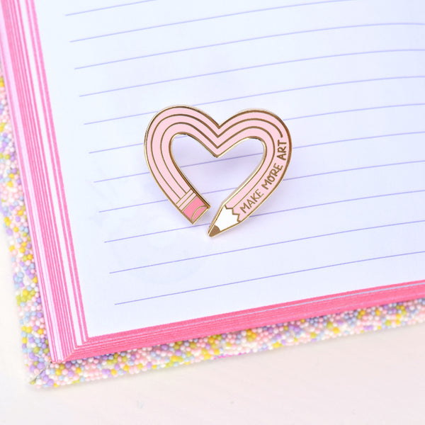 Make More Art Pencil Pin - Pink