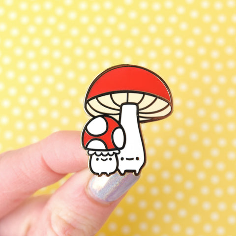 Short and Tall Mushroom Enamel Pin
