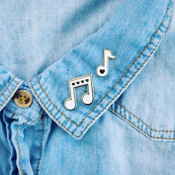 Love Notes Music Pin - White