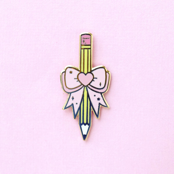 Pencil with Bow Pin - Pink