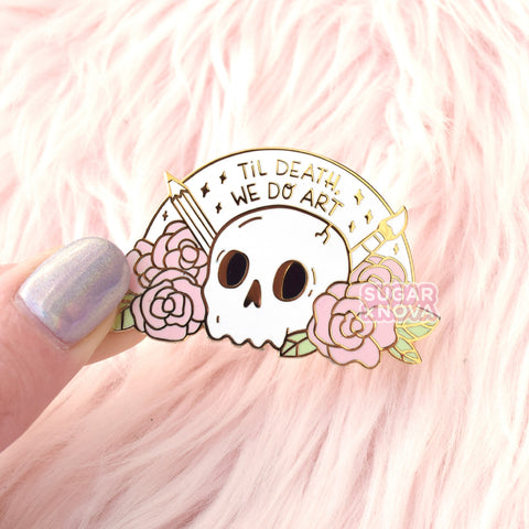 Death We Do Art Enamel Pin - Pink & White