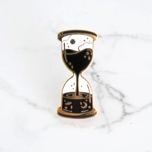 Space and Time Hourglass Pin - Black