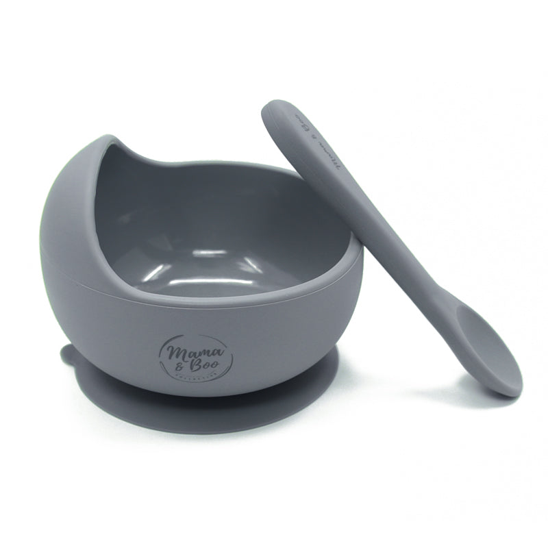 Silicone Suction Bowl & Spoon Set | BPA Free, Non Slip Base
