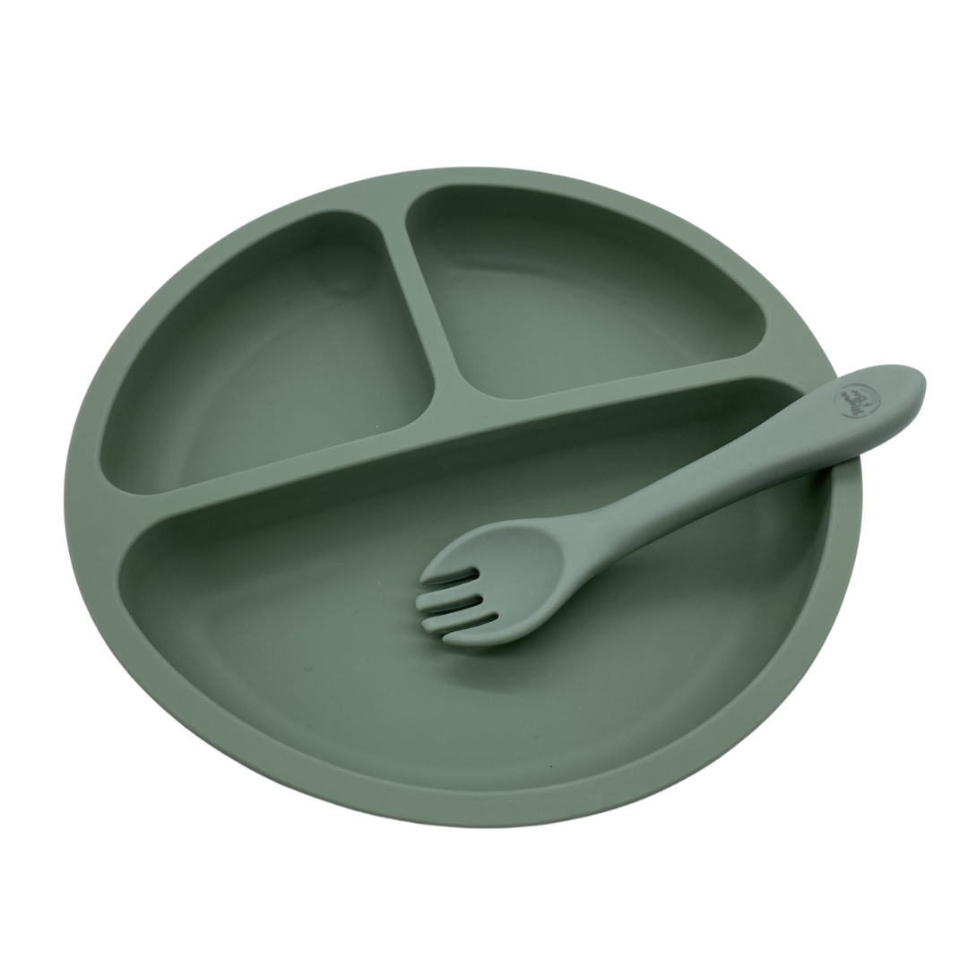 Silicone Suction Divider Plate & Fork Set | BPA Free, Suction Base