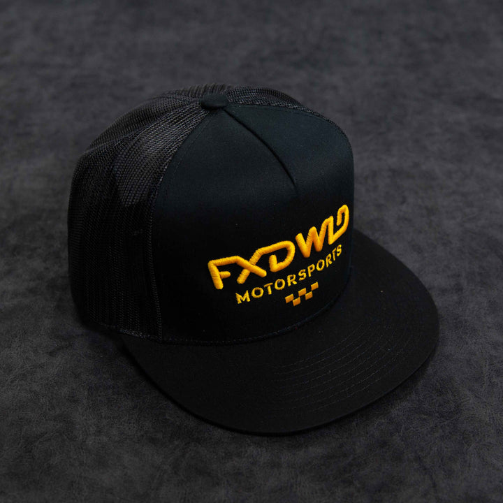 Black Trucker Hat - Yellow Logo