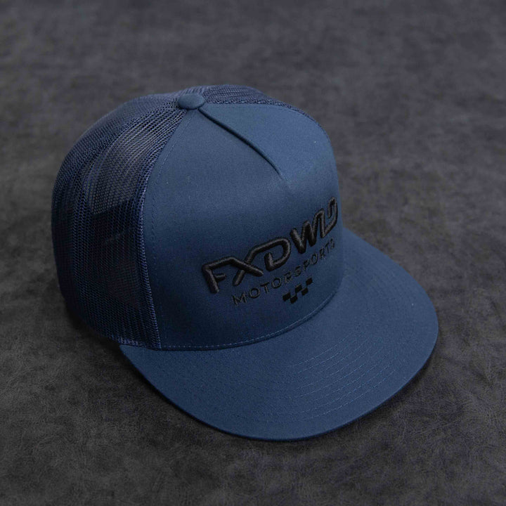 Navy Trucker Hat - Black Logo