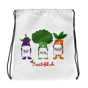 Eat Mor Fruit Drawstring bag