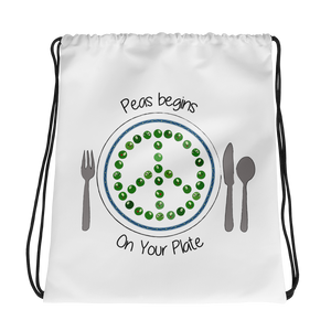 Peas Begins On Your Plate Drawstring bag
