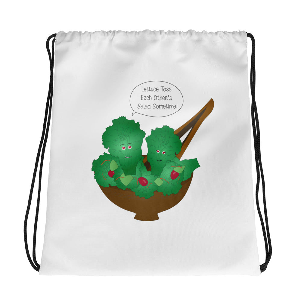 Toss Each Other's Salad Drawstring bag