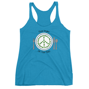 Peas Begins On Your Plate Women's Racerback Tank