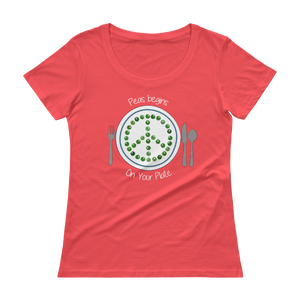 Peas Begins on Your Plate Ladies' Scoopneck T-Shirt
