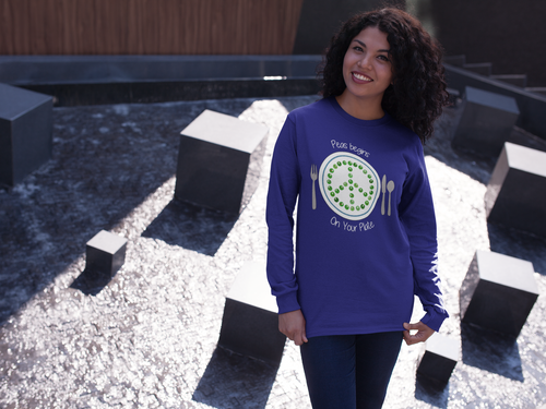 Peas Begins on Your Plate Long sleeve t-shirt (unisex)