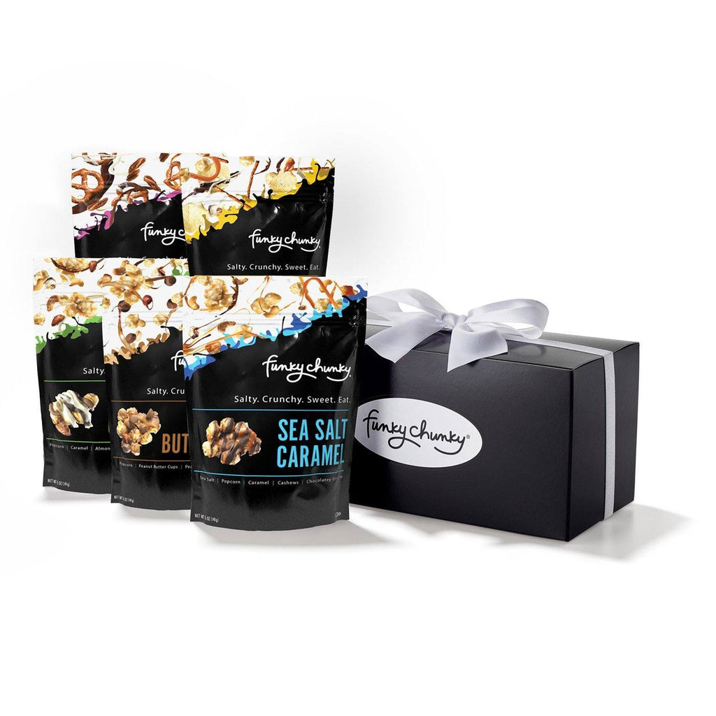 Tasting Kit-This tasting kit contains a decadent assortment of our favorite flavors: Small bag of Chocolate Popcorn, Chocolate Pretzels, Sea Salt Caramel Popcorn, Chip-Zel-Pop and Peanut Butter Cup Popcorn.-Funky Chunky