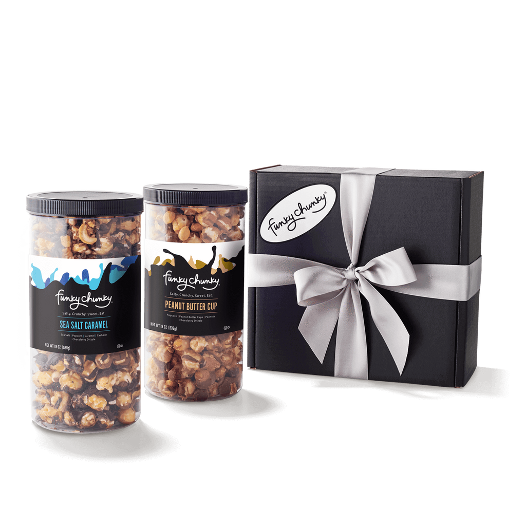 Salty Sweet Duo-Choose your favorite and get two tall canisters of salty and sweet flavors together. A combination that makes for the perfect gift for everyone on your list.-Funky Chunky