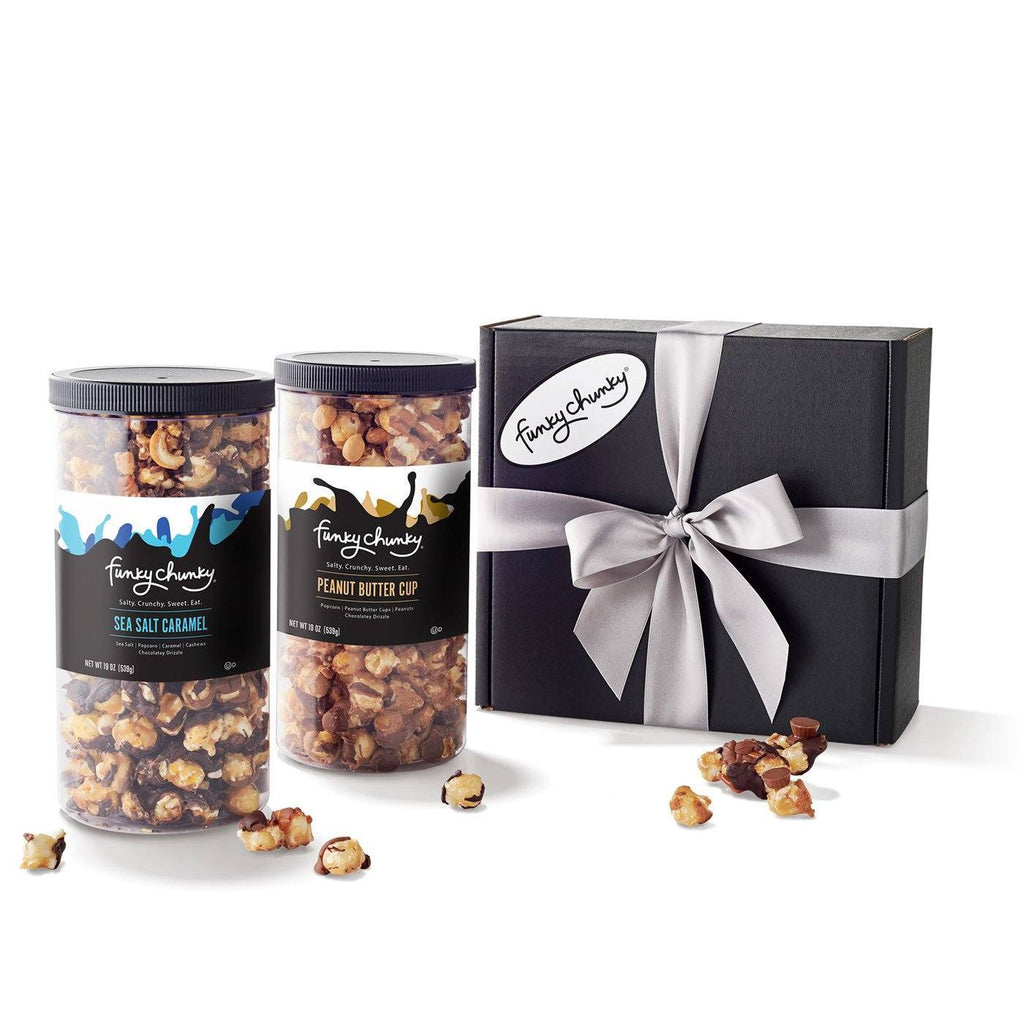 Salty Sweet Duo - Sea Salt Caramel & Peanut Butter Cup-Choose your favorite and get two Tall Canisters of salty and sweet flavors together. A combination that makes for the perfect gift for everyone on your list.-Funky Chunky