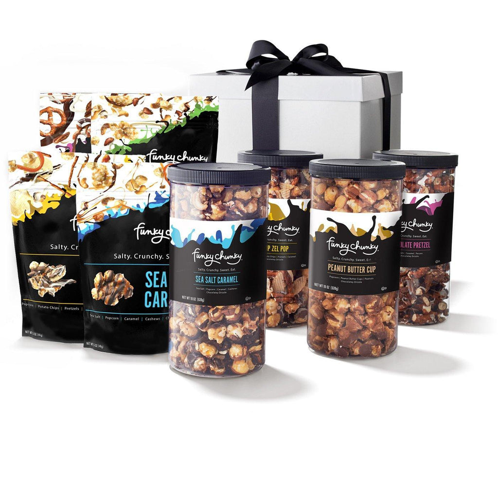 Premier Gift Pack-td {border: 1px solid #ccc;}br {mso-data-placement:same-cell;} Tall canisters of Peanut Butter Cup Popcorn, Chocolate Pretzels, Sea Salt Caramel Popcorn, plus large bags of Chocolate Popcorn, Chocolate Pretzels, Sea Salt Caramel Popcorn and Chip-Zel-Pop. Canisters arrive neatly wrapped in a deluxe gift box with a bow.-Funky Chunky