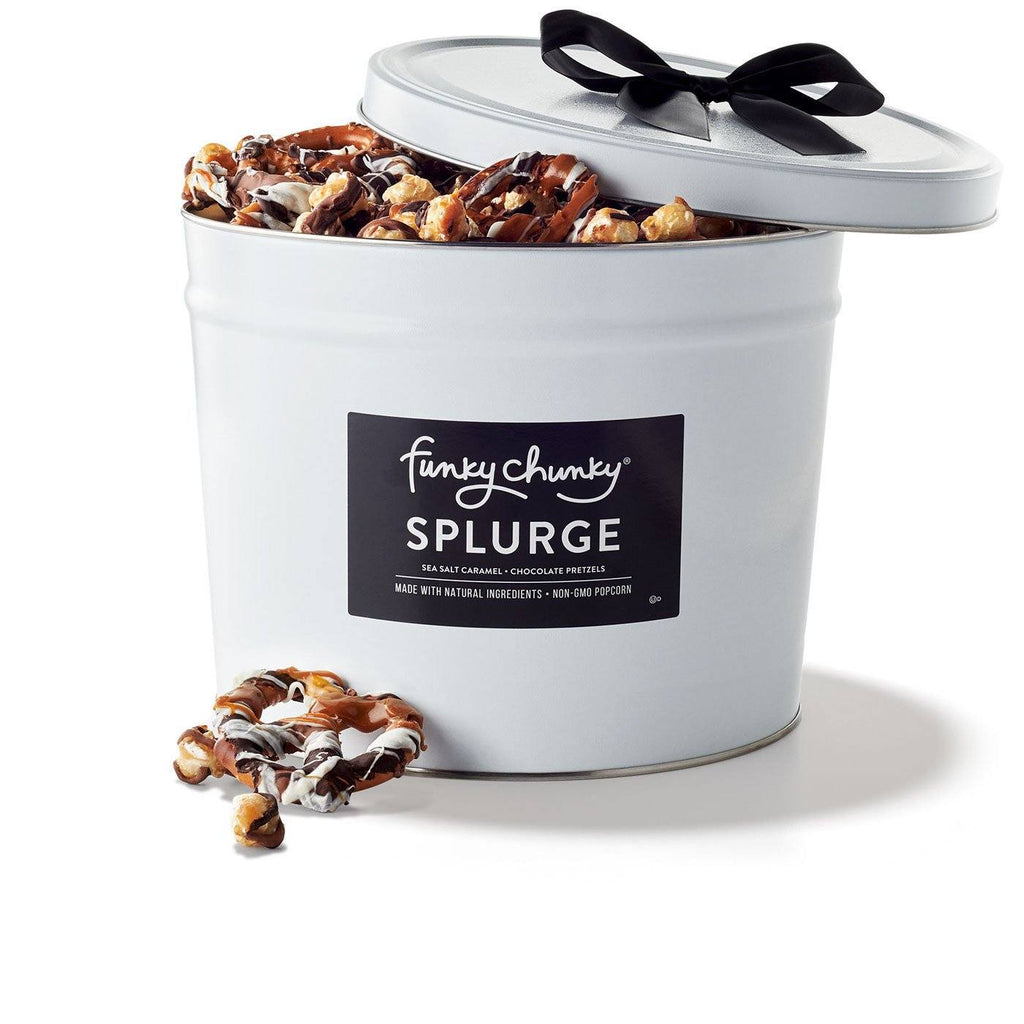 "Splurge (4lb.)-Two of our most popular flavors, Sea Salt Caramel Popcorn and Chocolate Pretzels filled to the brim in a sophisticated deluxe gift tin—there's plenty to go around for all with this ""splurge"" of a gift.-Funky Chunky"