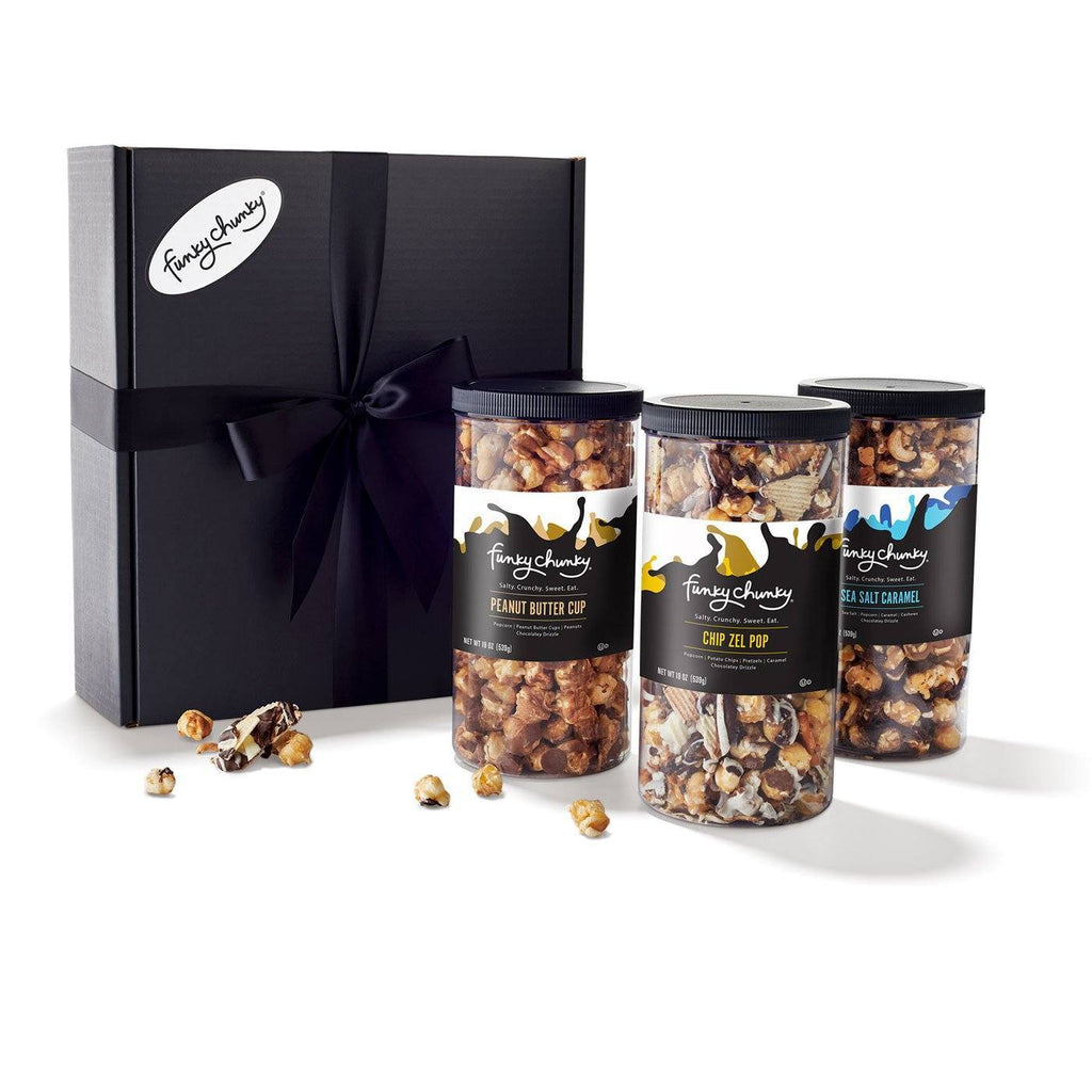 Triple Flavor Gift Pack - Sea Salt Caramel, Chip Zel Pop, Peanut Butter Cup - Funky Chunky