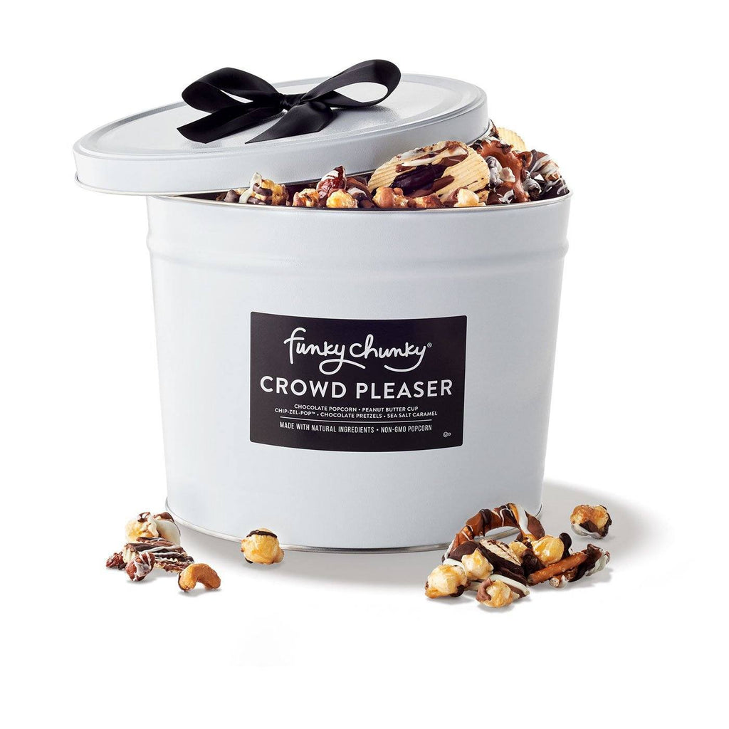 Crowd Pleaser Gift Tin 3 lb-td {border: 1px solid #ccc;}br {mso-data-placement:same-cell;} Our Crowd Pleaser Gift Tin is packed to the brim with popcorn and pretzels. It features five flavors: Nutty Choco Pop, Chocolate Pretzel, Peanut Butter Cup, Sea Salt Caramel and Chip Zel Pop. Contains five 10 oz bags.-Funky Chunky