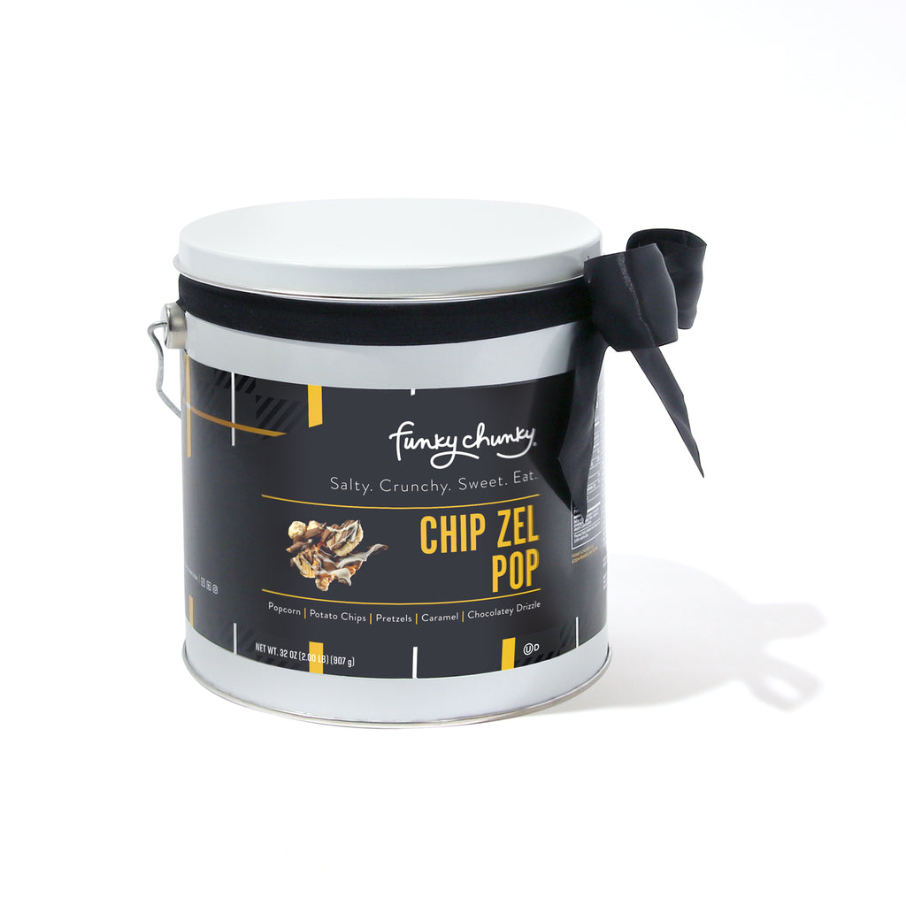 Chip Zel Pop Gift Pail 2 lb-All your cravings satisfied in one bite! Sweet and salty, chewy, crispy and crunchy, Chip Zel Pop gourmet popcorn is an incredible marriage of flavors that will keep you wanting more. Made with crisp potato chips, pretzel sticks, and buttery caramel popcorn - mixed together and drizzled with thick caramel and dark, milk and white chocolatey goodness.-Funky Chunky