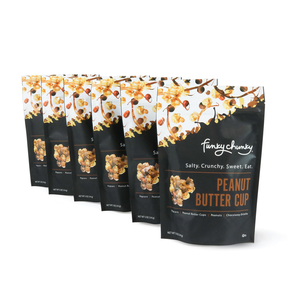Large Bags | 5 oz - 6 pack-Large, re-sealable bags are the perfect size for stocking stuffers, office gifts or having on hand for drop-in guests. Each bag contains five servings. Includes six 5 ounce bags.-Funky Chunky