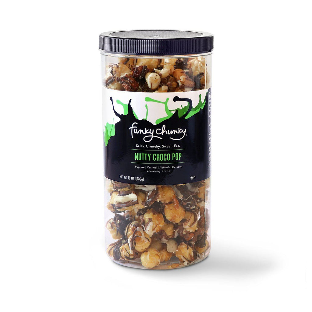 Tall Canisters (19oz.)-This tall, re-sealable canister of popcorn and pretzel mixes are our most popular size and makes a great office party favor, hostess or business gift. Each canister contains nineteen gourmet popcorn confection servings.-Funky Chunky