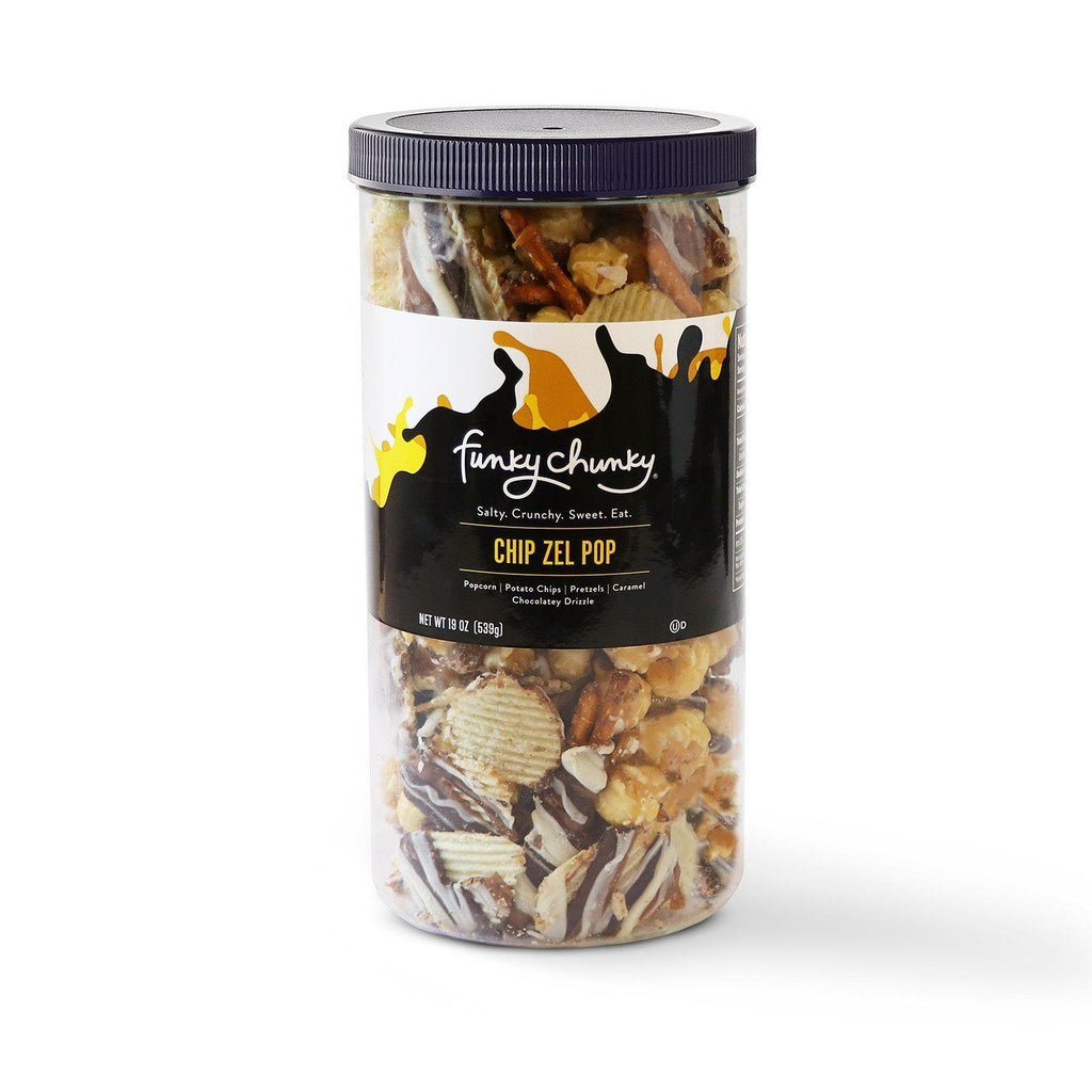 Chip Zel Pop Canister (19oz)-td {border: 1px solid #ccc;}br {mso-data-placement:same-cell;} All your cravings satisfied in one bite! Sweet and salty, chewy, crispy and crunchy, Chip Zel Pop gourmet popcorn is an incredible marriage of flavors that will keep you wanting more. Made with crisp potato chips, pretzel sticks, and buttery caramel popcorn - mixed together and drizzled with thick caramel and dark, milk and white chocolatey goodness. Contains 1 19 oz canister-Funky Chunky