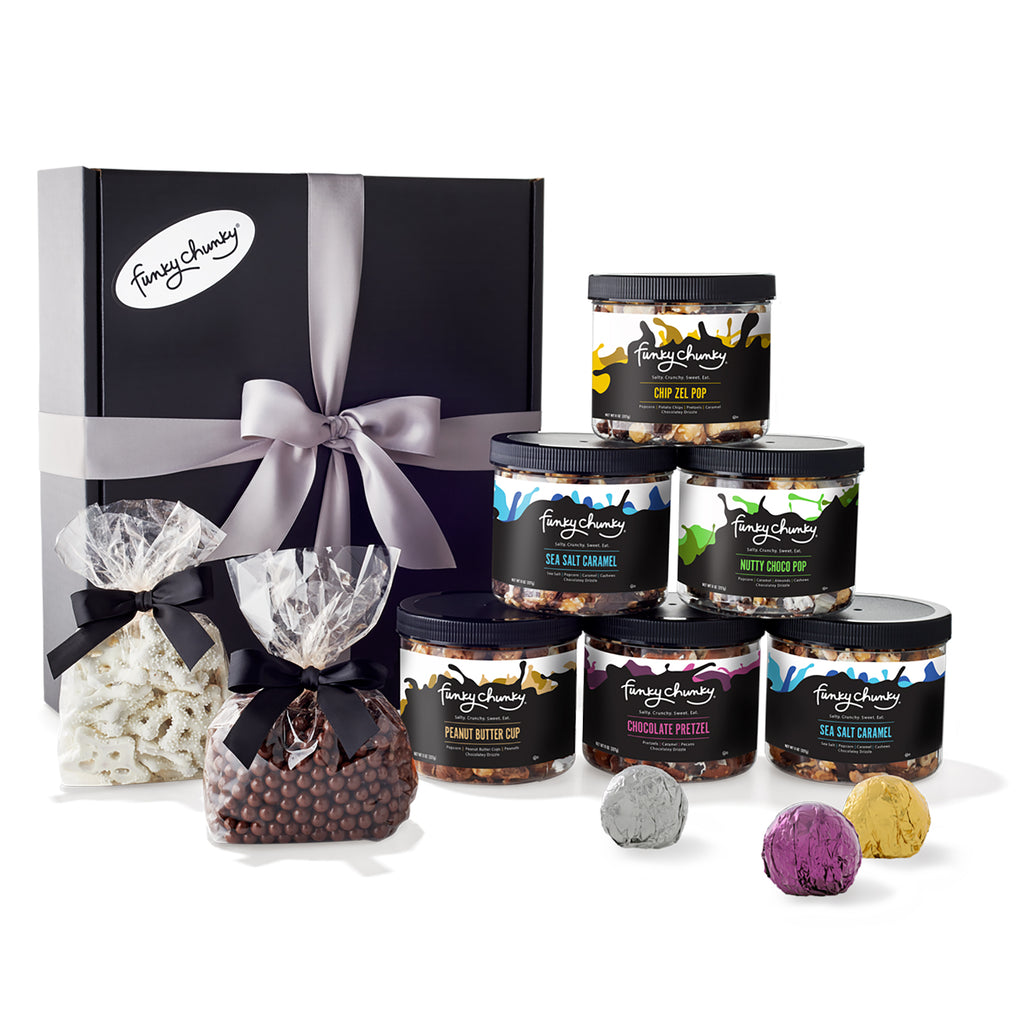 Executive Gourmet-The Executive Gourmet is a gift box filled with 6 mini canisters of Nutty Choco Pop, Chip Zel Pop, Sea Salt Caramel, Peanut Butter Cup and Chocolate Pretzel PLUS 3 one-pound bags of gourmet candy. 6 lbs.-Funky Chunky