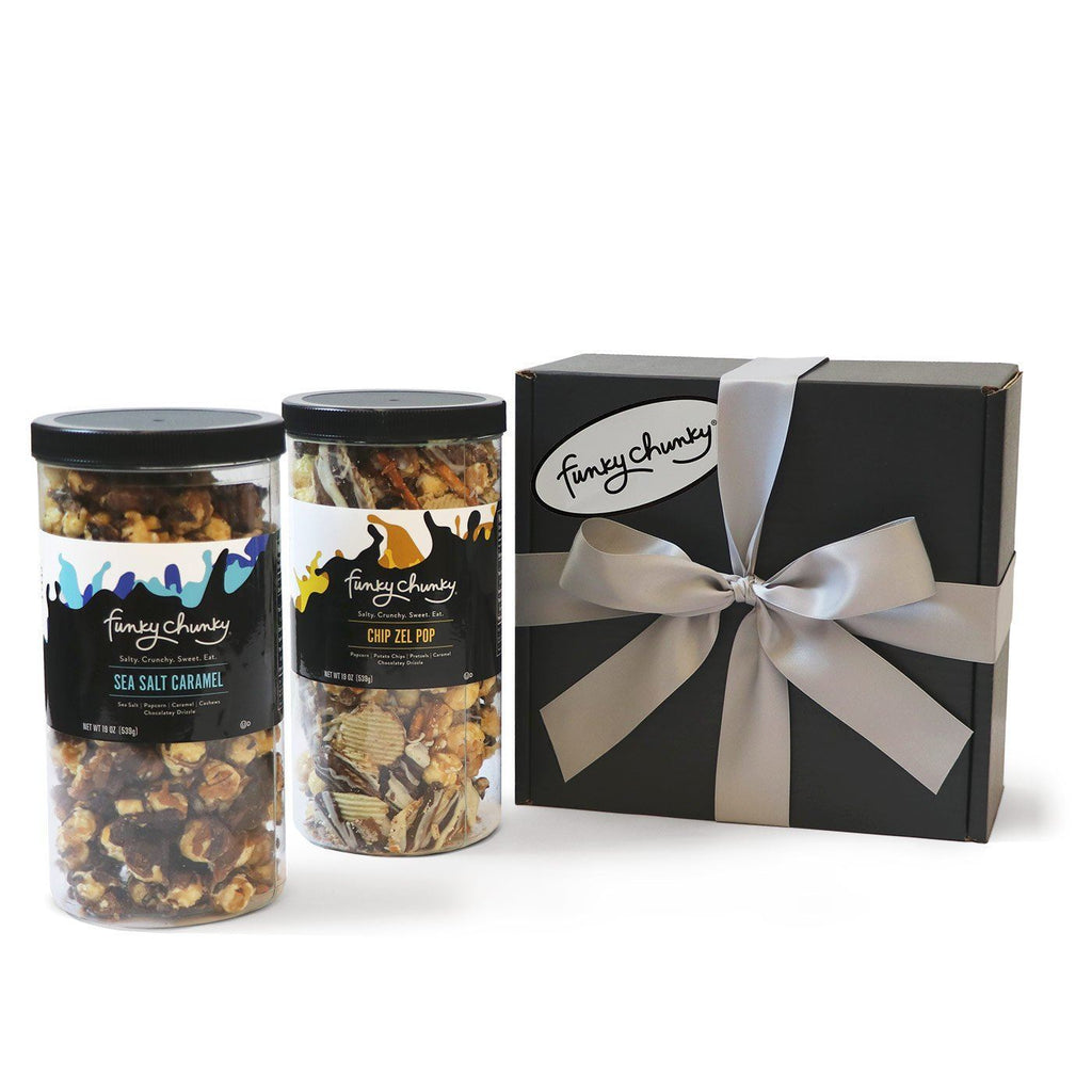 Salty Sweet Duo - Sea Salt Caramel & Chip Zel Pop-Choose your favorite and get two Tall Canisters of salty and sweet flavors together. A combination that makes for the perfect gift for everyone on your list.-Funky Chunky