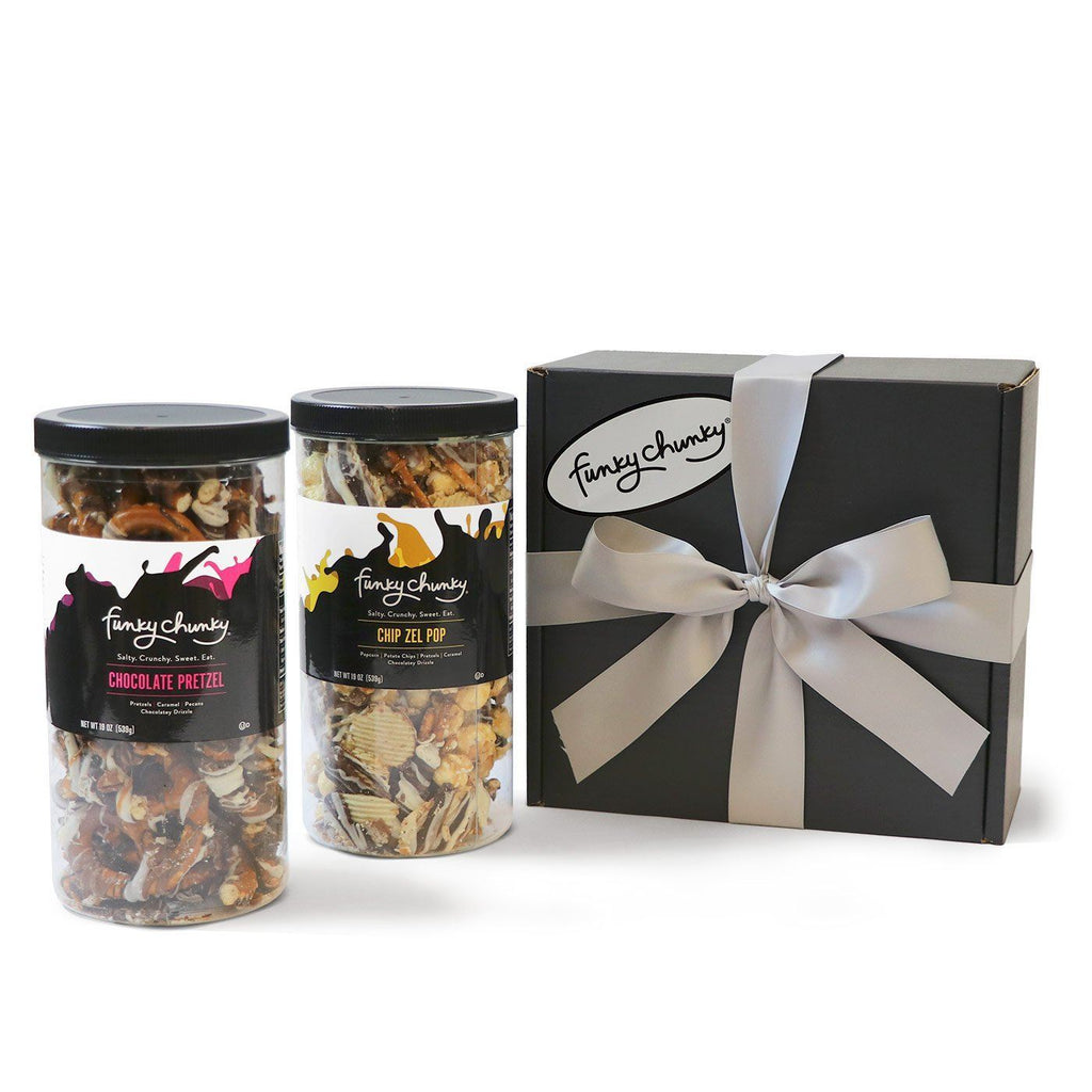 Salty Sweet Duo - Chocolate Pretzel & Chip Zel Pop-Choose your favorite and get two Tall Canisters of salty and sweet flavors together. A combination that makes for the perfect gift for everyone on your list.-Funky Chunky