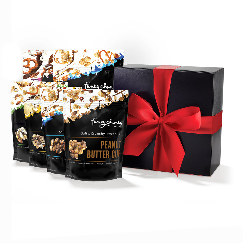 Funky Box-Our Funky Box contains 2 large bags of Chocolate Pretzel and Sea Salt Caramel, as well as 4 smaller bags of Peanut Butter Cup, Nutty Choco Pop, Sea Salt Caramel Popcorn and Chip Zel Pop. Contains two 5 oz bags and four 2 oz bags (18 oz).-Funky Chunky