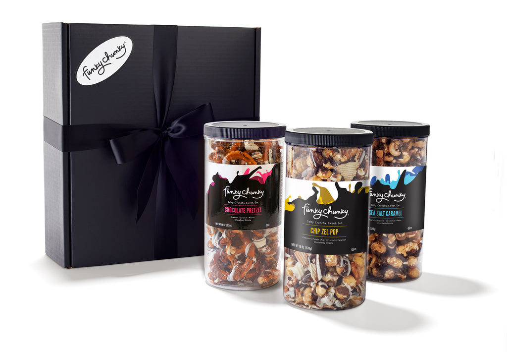 Triple Flavor Gift Pack - Chip Zel Pop, Sea Salt Caramel, Chocolate Pretzel