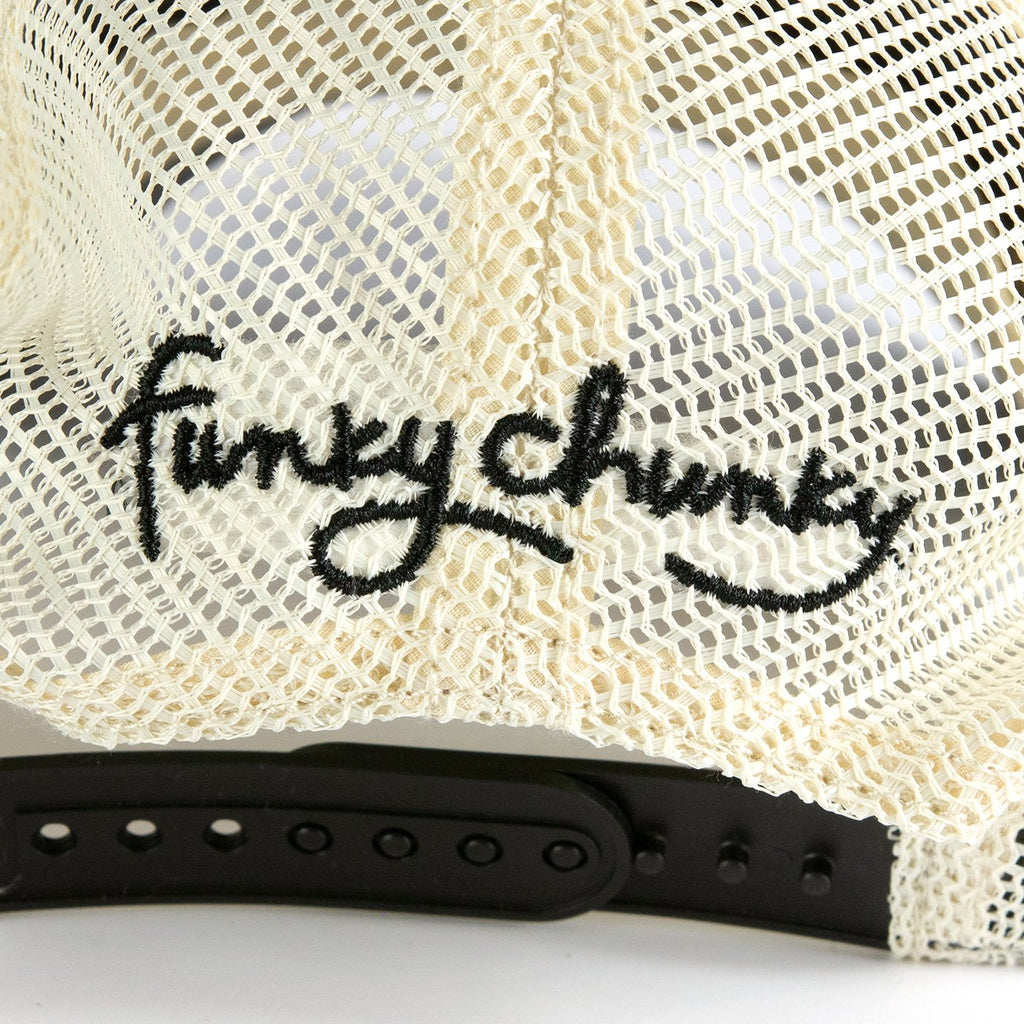 The Funky Chunky Hat-We were sitting around one day wondering why we didn't have a hat. Boom, hat. Like all of our swag, our hats are SUPER comfortable and not walking billboards! One size fits all.-Funky Chunky