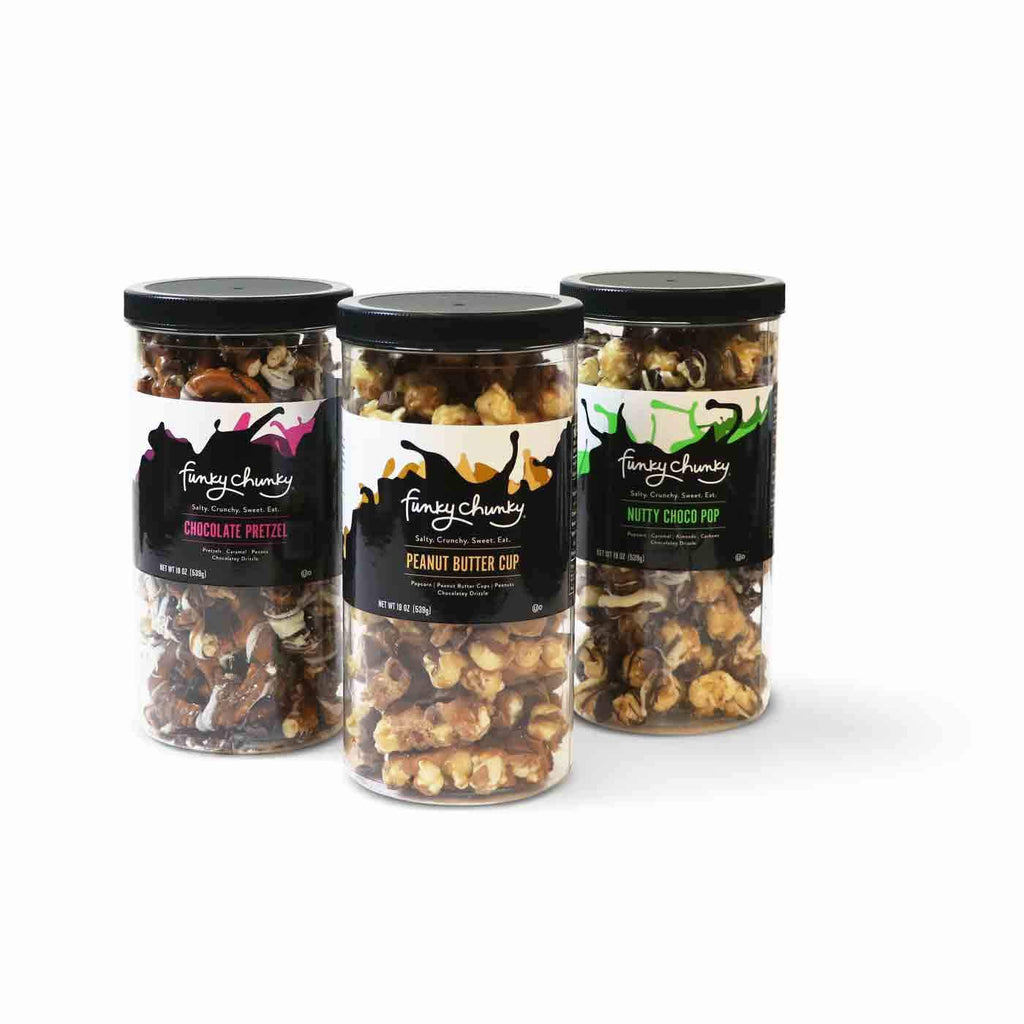 Triple Flavor Gift Pack - Nutty Choco Pop, Chocolate Pretzel, Peanut Butter Cup-simple--Funky Chunky