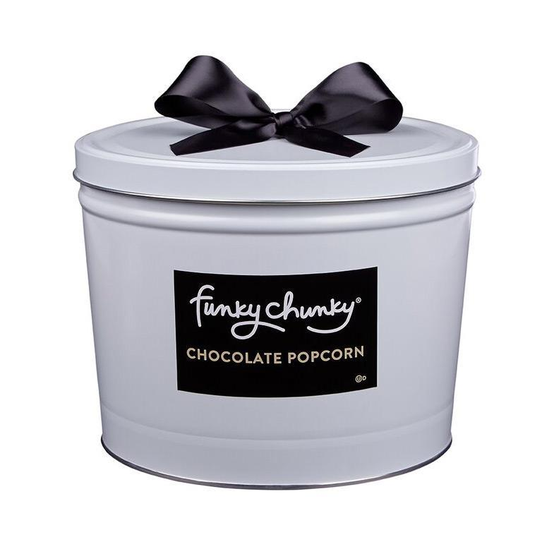 Deluxe Gift Tins 5 lb-configurable-Nutty Choco Pop / No Ribbon-Funky Chunky