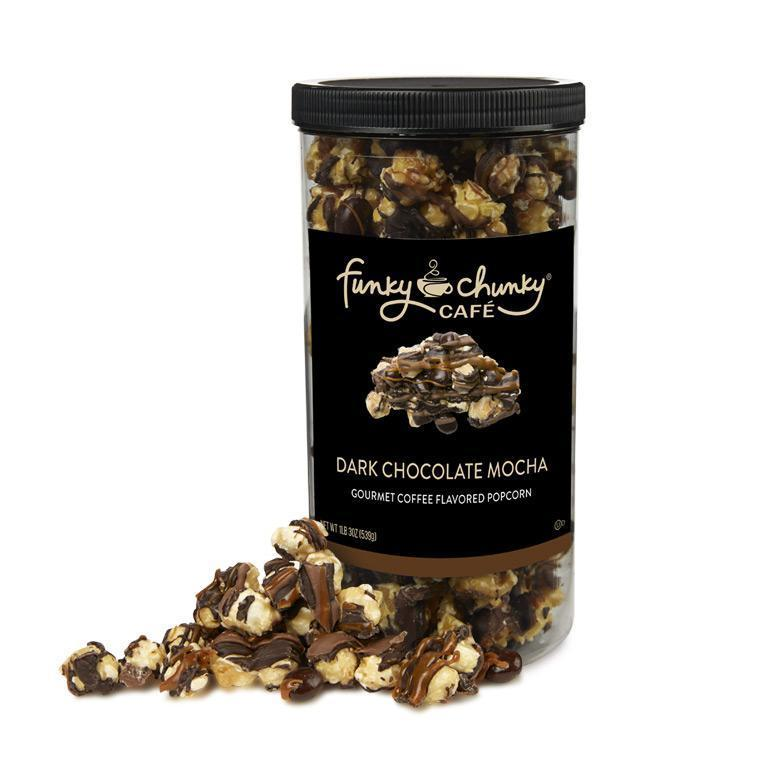 Dark Chocolate Mocha-td {border: 1px solid #ccc;}br {mso-data-placement:same-cell;} We drew inspiration from a local coffee shop to create this mocha popcorn confection that tastes just like your favorite mocha drink. We start with our decadent, buttery caramel corn, add dark and milk chocolatey mocha goodness, chewy caramel, and then top it all off with a sprinkle of dark chocolate covered espresso beans.-Funky Chunky