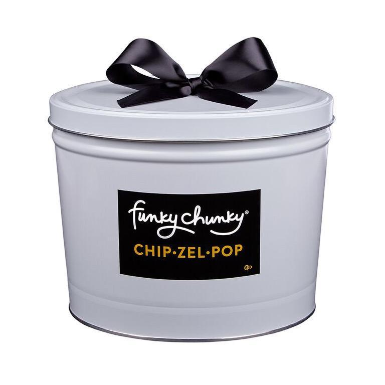 Chip Zel Pop Deluxe Gift Tin 5 lb-td {border: 1px solid #ccc;}br {mso-data-placement:same-cell;} All your cravings satisfied in one bite! Sweet and salty, chewy, crispy and crunchy, Chip Zel Pop gourmet popcorn is an incredible marriage of flavors that will keep you wanting more. Made with crisp potato chips, pretzel sticks, and buttery caramel popcorn - mixed together and drizzled with thick caramel and dark, milk and white chocolatey goodness.-Funky Chunky